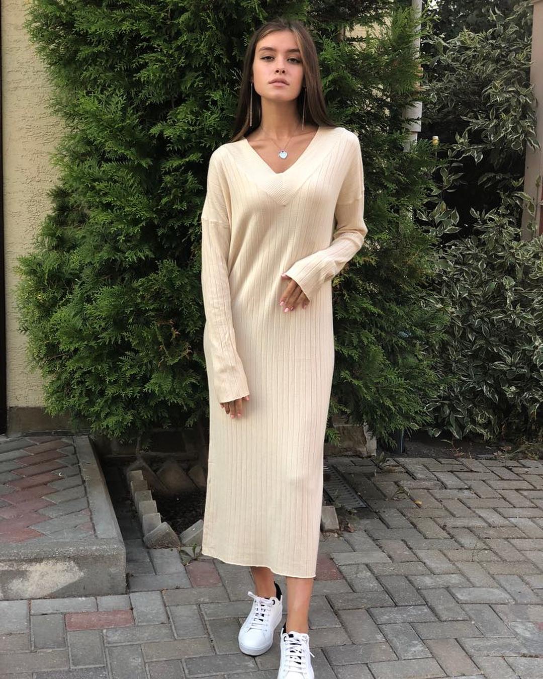 тренды осени длинное платье
