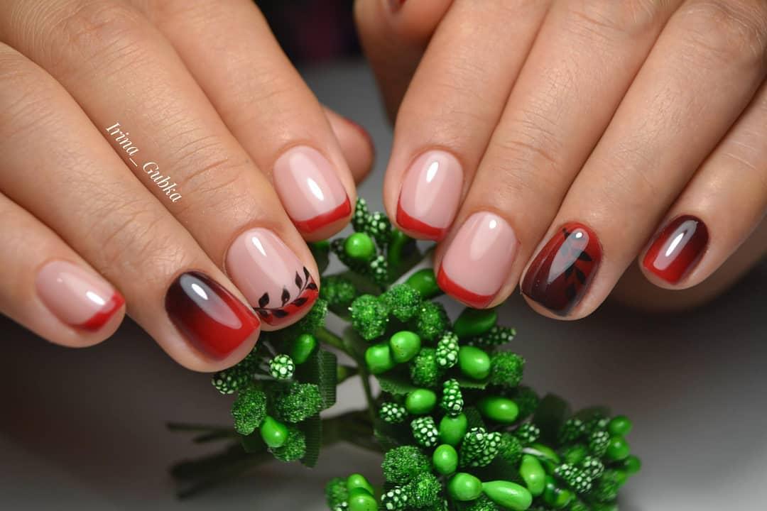 Красное омбре на ногтях_26