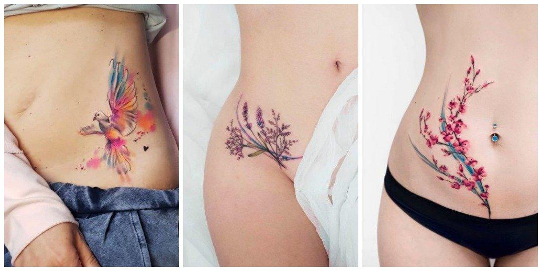 Акварельная татуировка на животе