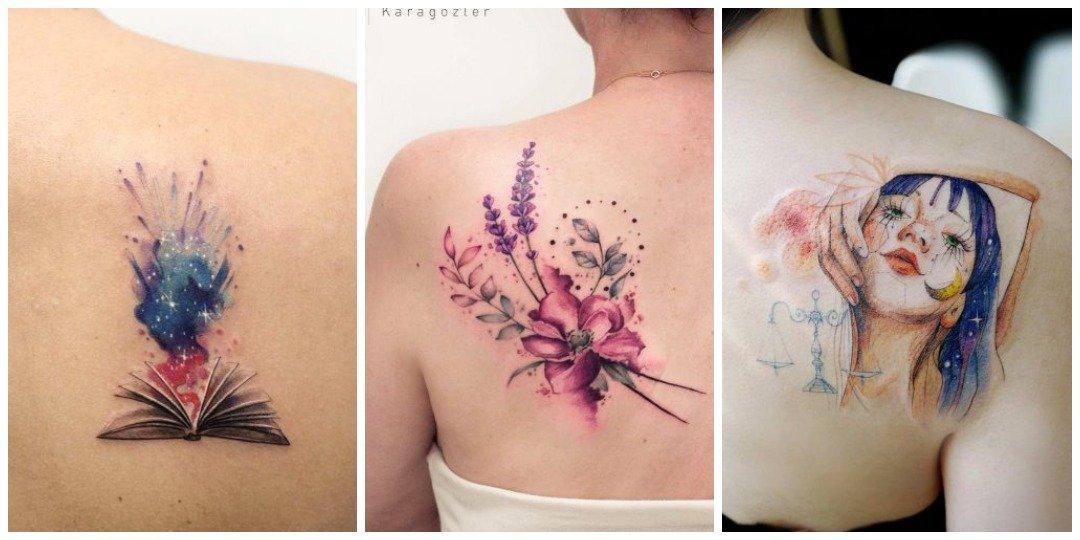 Красивые акварельные татуировки на спине