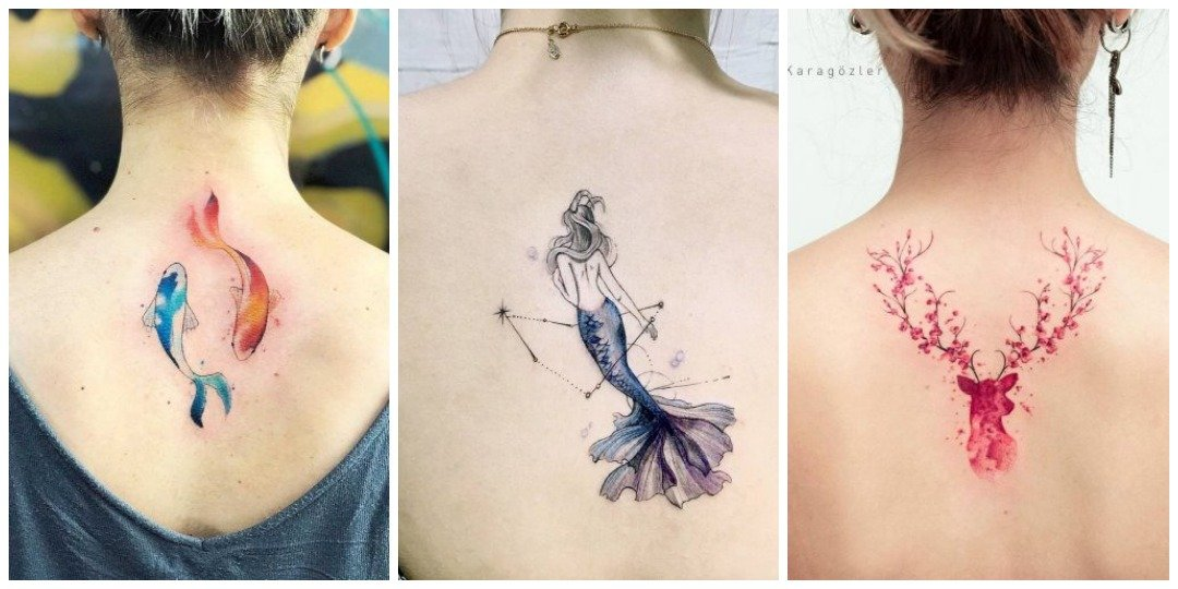 акварельные татуировки на спине