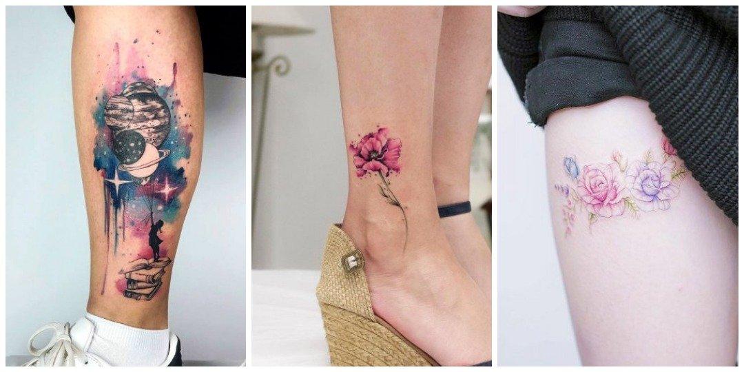 Акварельные тату на ноге