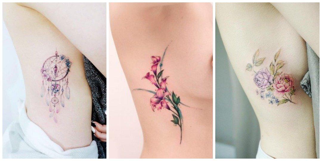 Акварельные татуировки на боку