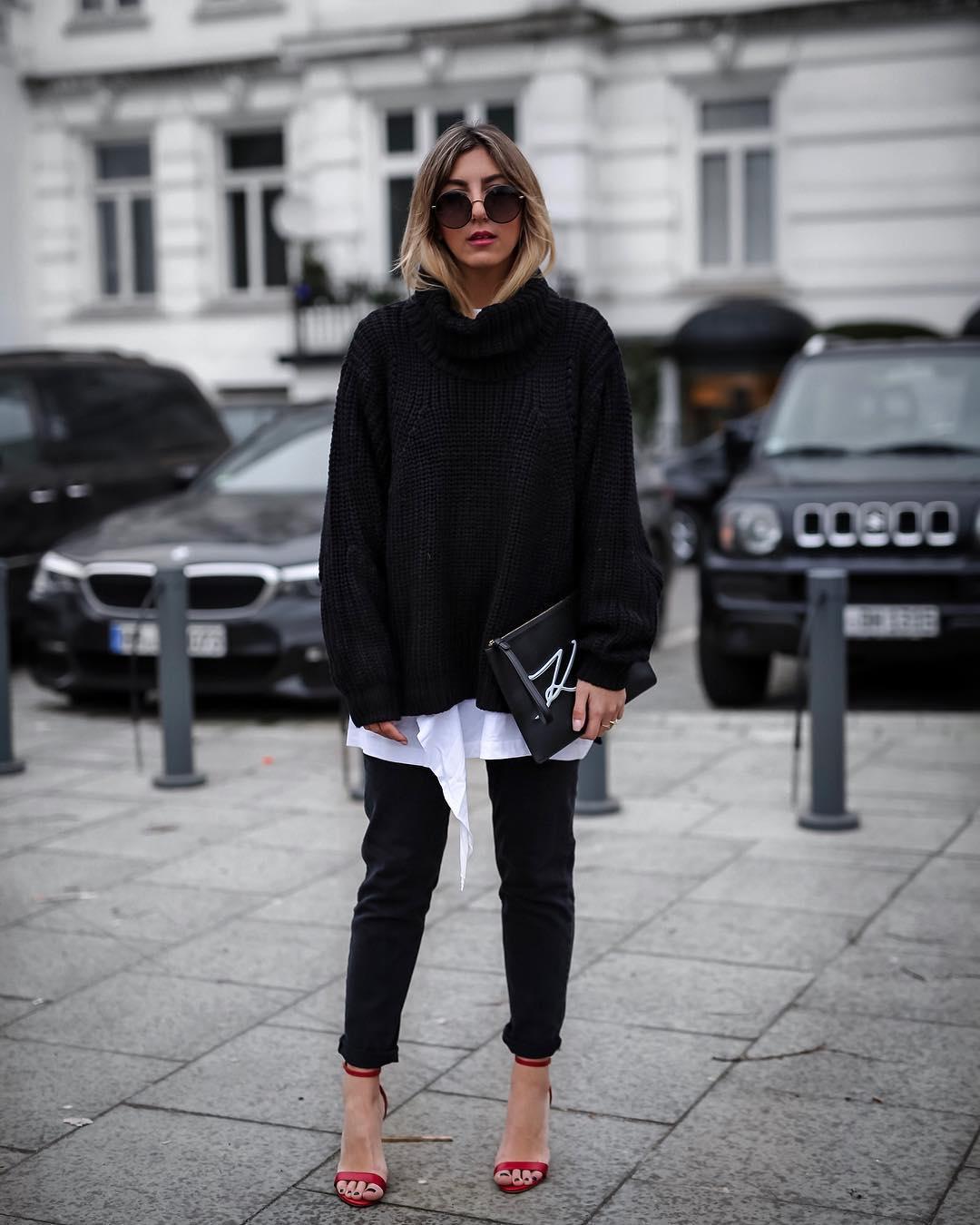 Луки с черными джинсами_18