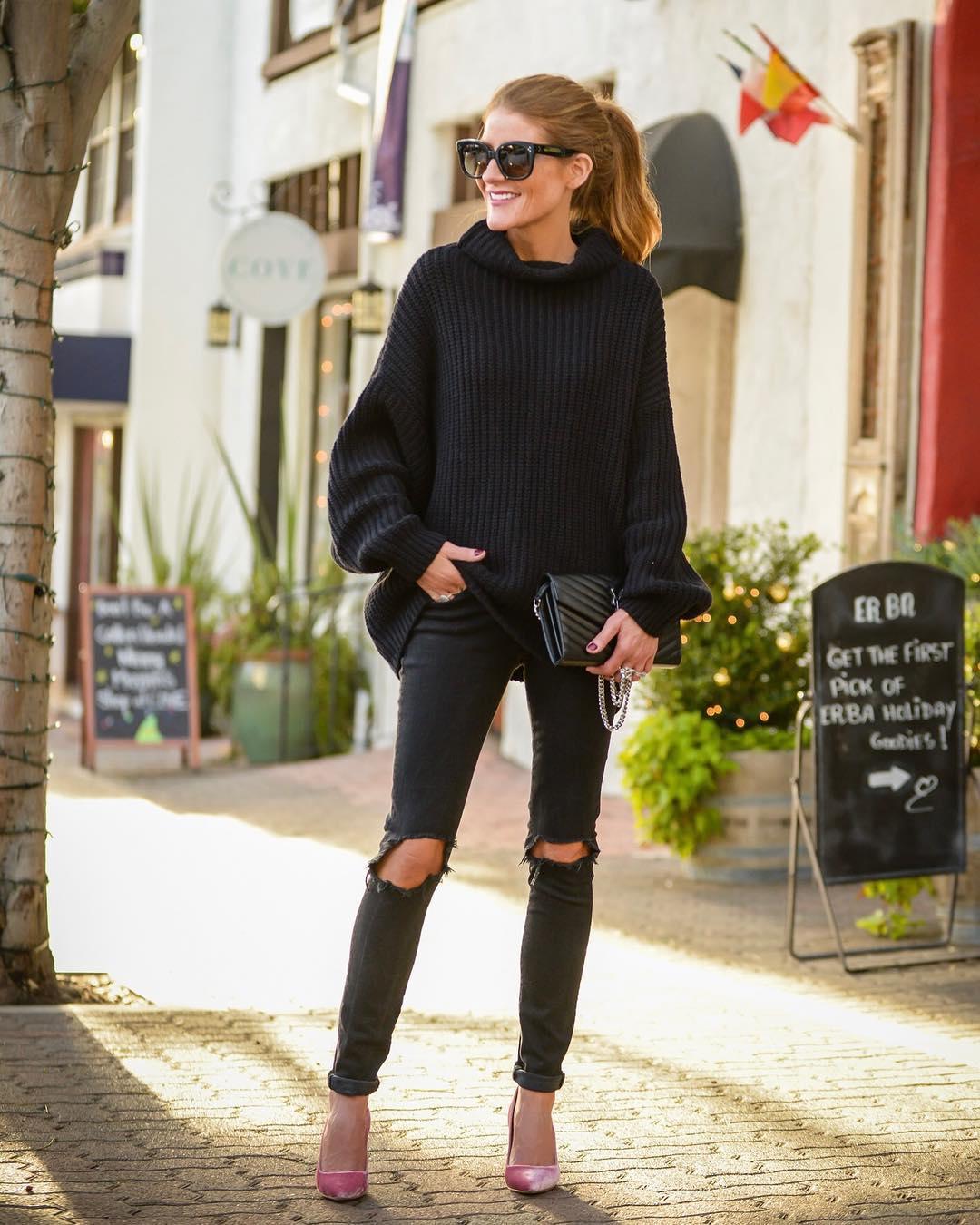 Луки с черными джинсами_1
