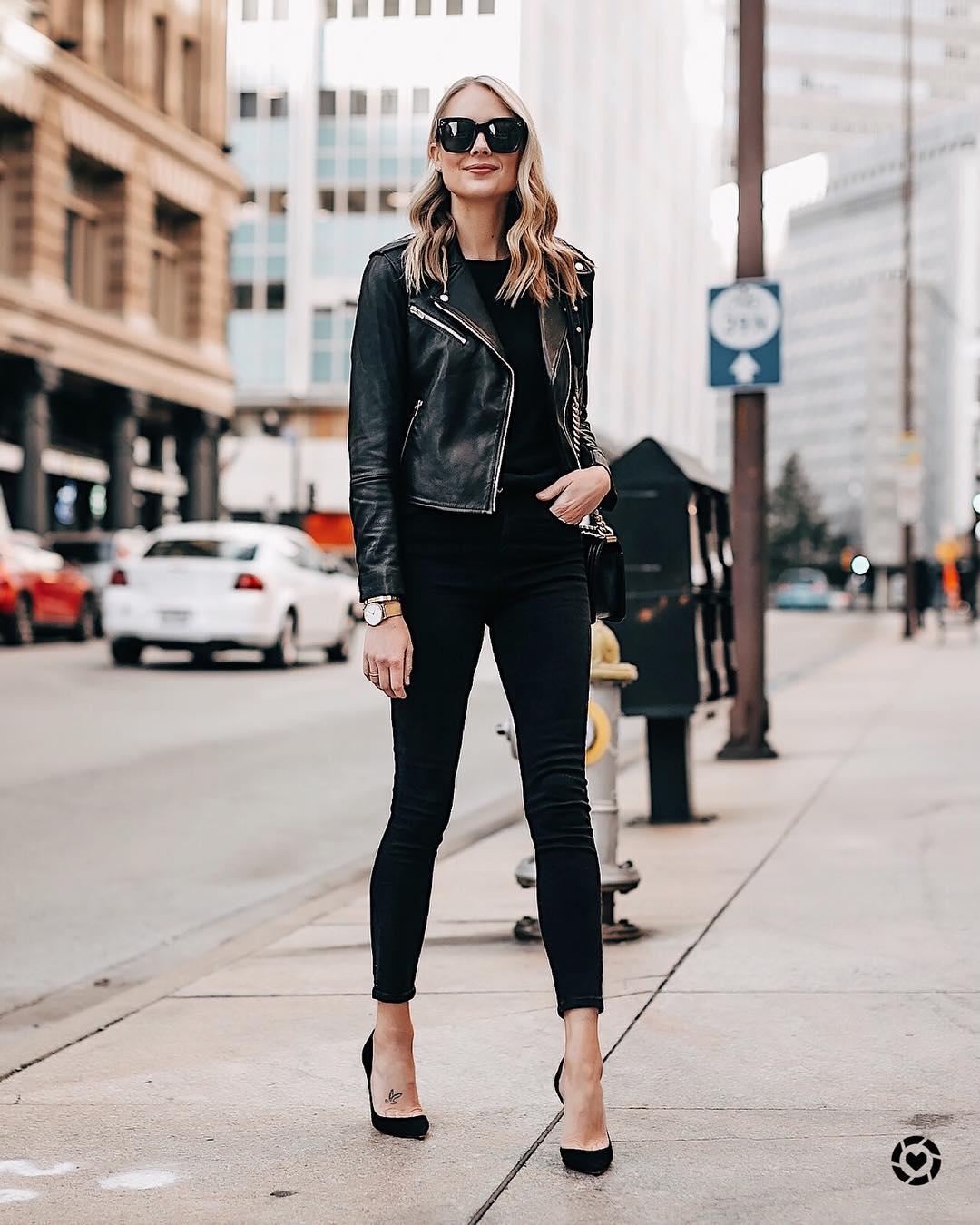Луки с черными джинсами_10