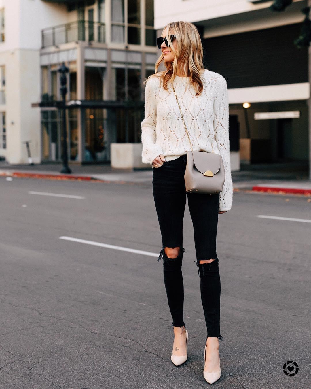 Луки с черными джинсами_4
