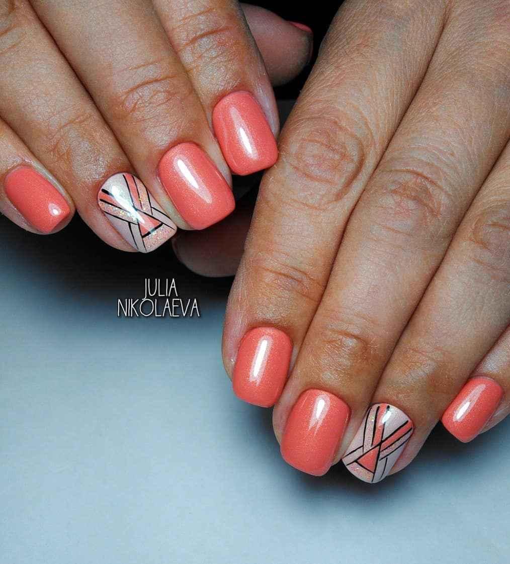 Коралловый маникюр на короткие ногти_11