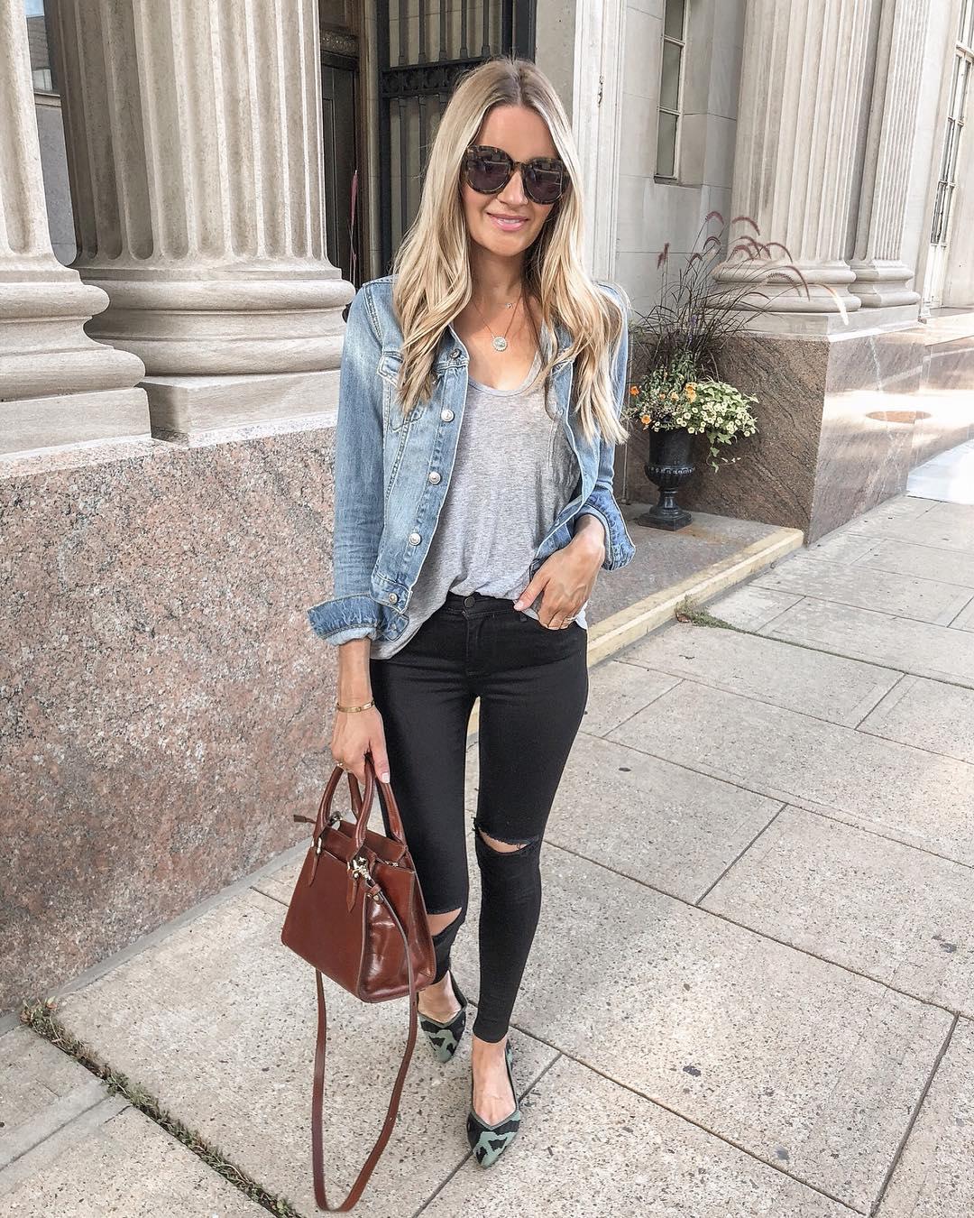 Луки с черными джинсами_17