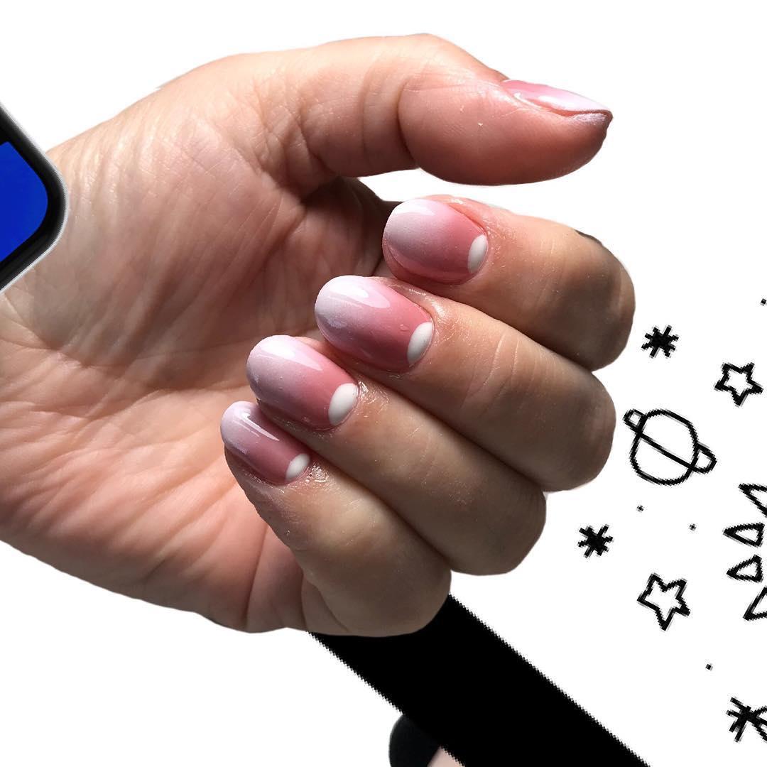 французский маникюр на короткие ногти омбре