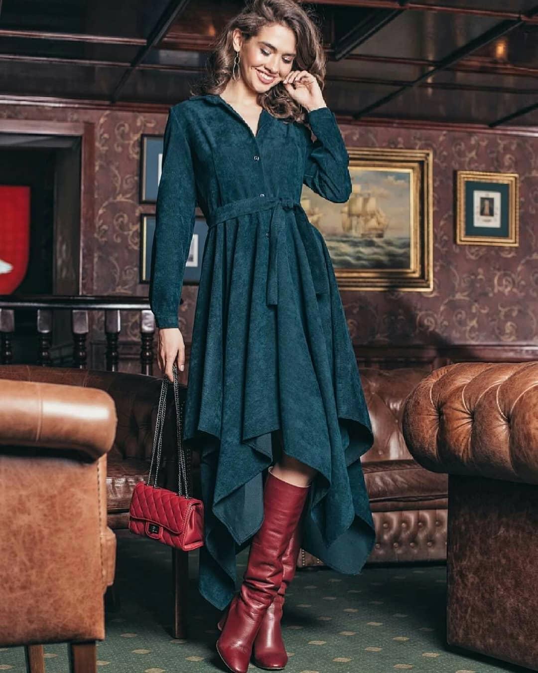 Модные весенние платья 2019 из вельвета, бархата или кожи23