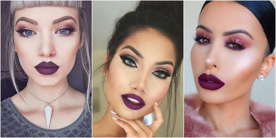 идеи макияжа с фиолетовой помадой_4