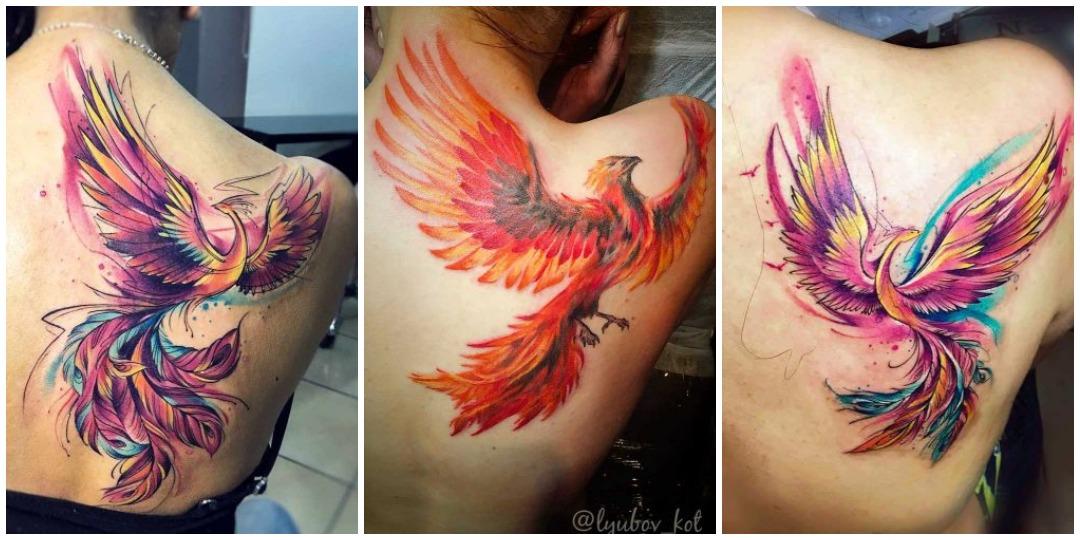 татуировки с фениксом на плече