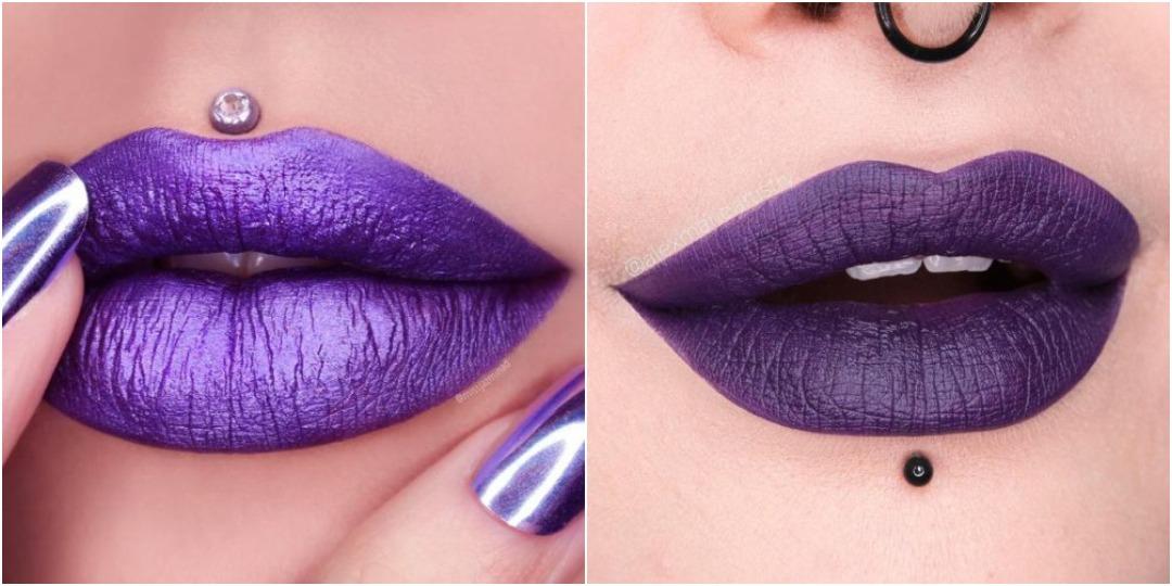 Популярные фиолетовые оттенки помады