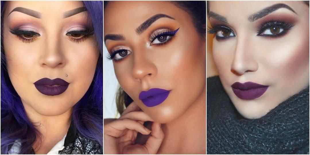 идеи макияжа с фиолетовой помадой_1