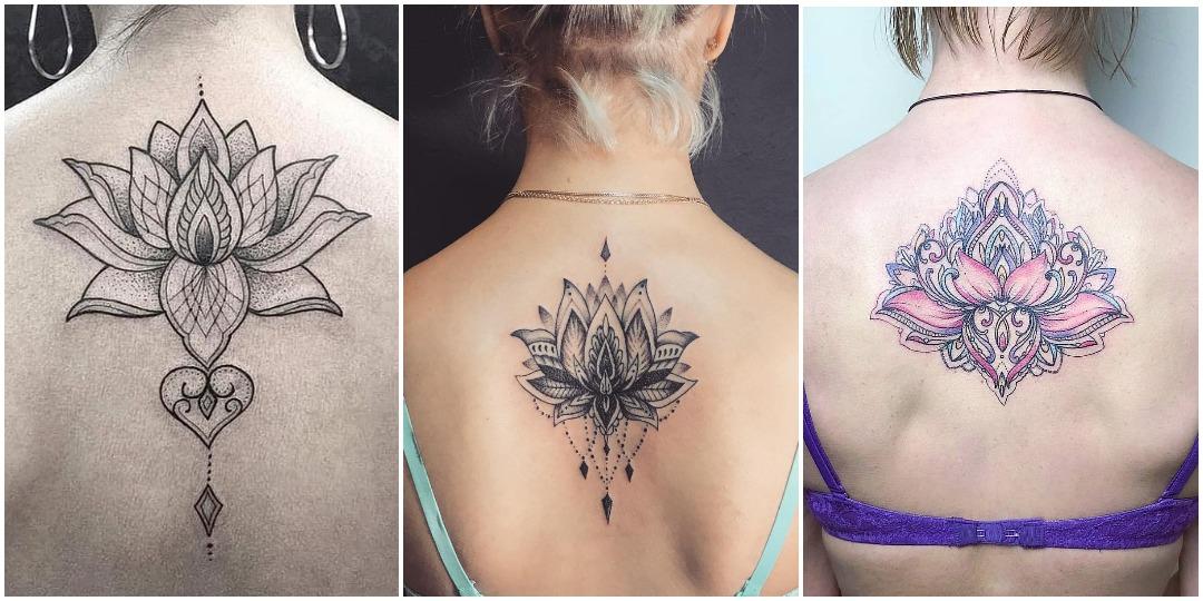 Татуировки для девушек на спине лотос