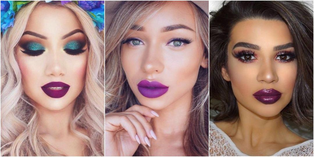 идеи макияжа с фиолетовой помадой_2