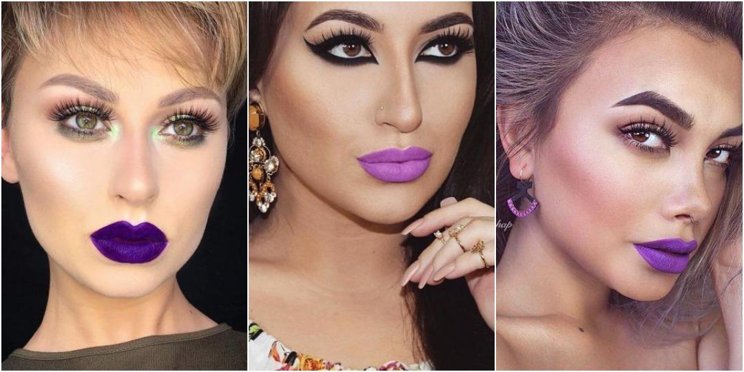 идеи макияжа с фиолетовой помадой_5