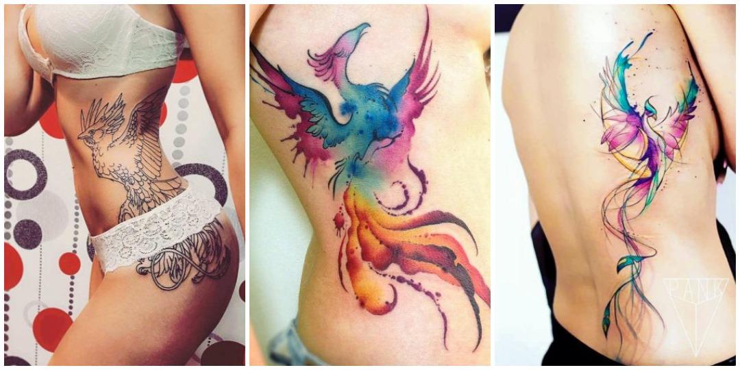 татуировки феникса на боку