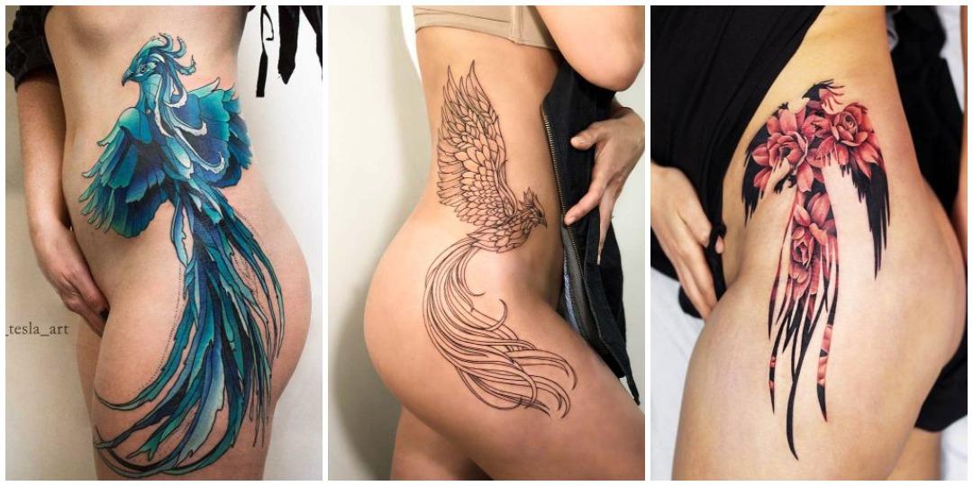 татуировки феникса для нижней части тела