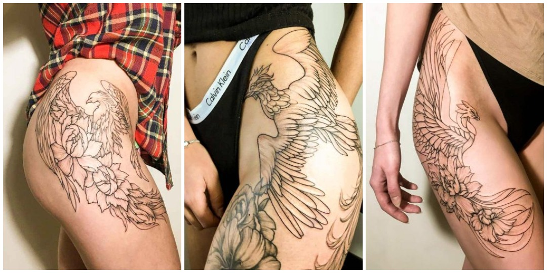 татуировки феникса для нижней части тела_2