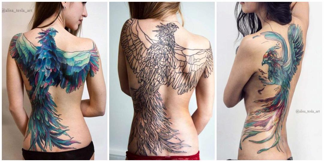 татуировки феникса на спине
