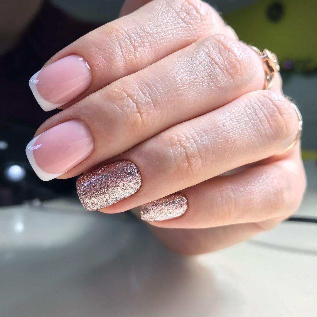 Французский маникюр на короткие ногти 2019_9