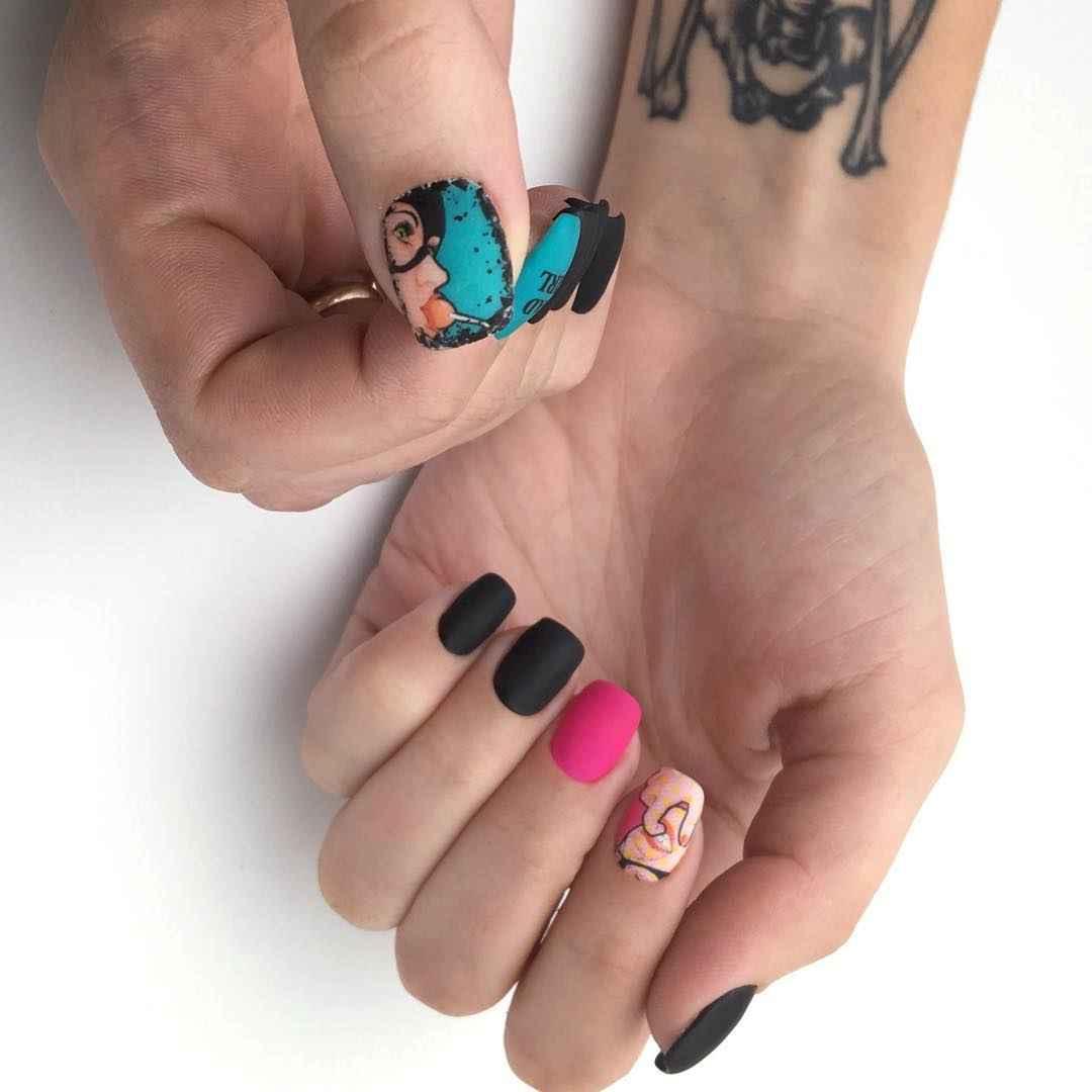 Матовый маникюр на короткие ногти фото_3