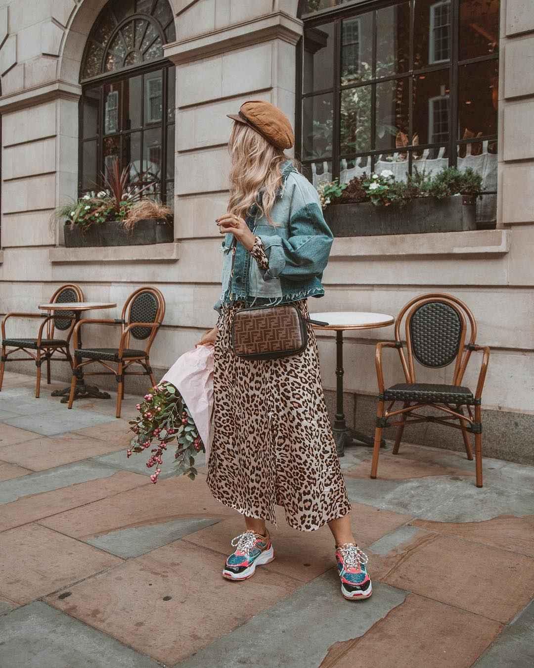 С чем носить длинную леопардовую юбку фото_8