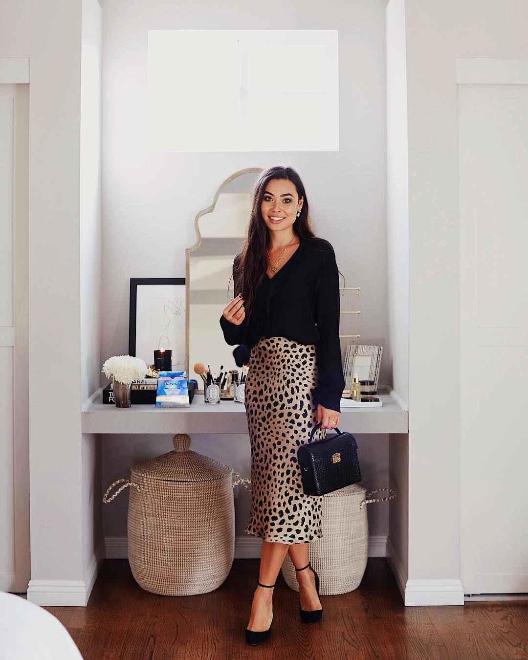С чем носить леопардовую юбку карандаш фото_1