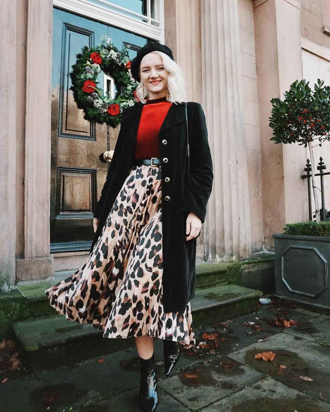С чем носить леопардовую плиссированную юбку фото_11