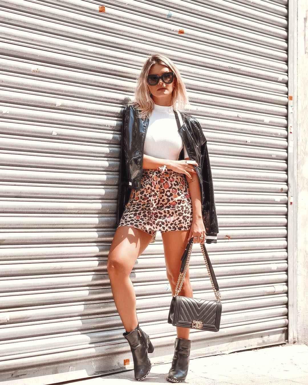 С чем носить леопардовую юбку мини фото_1