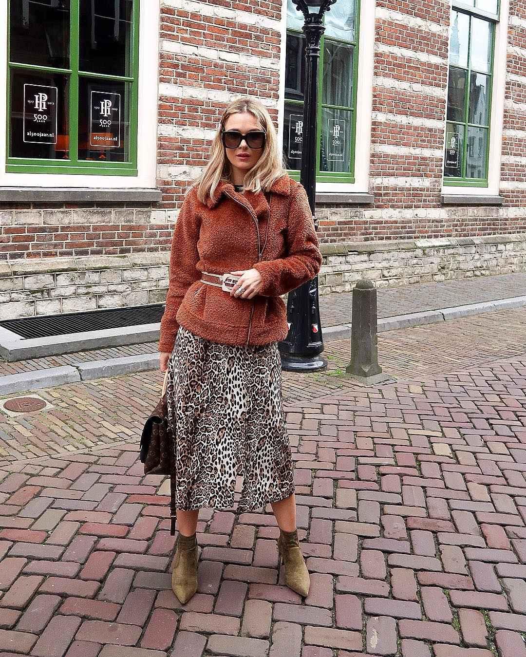 С чем носить длинную леопардовую юбку фото_3