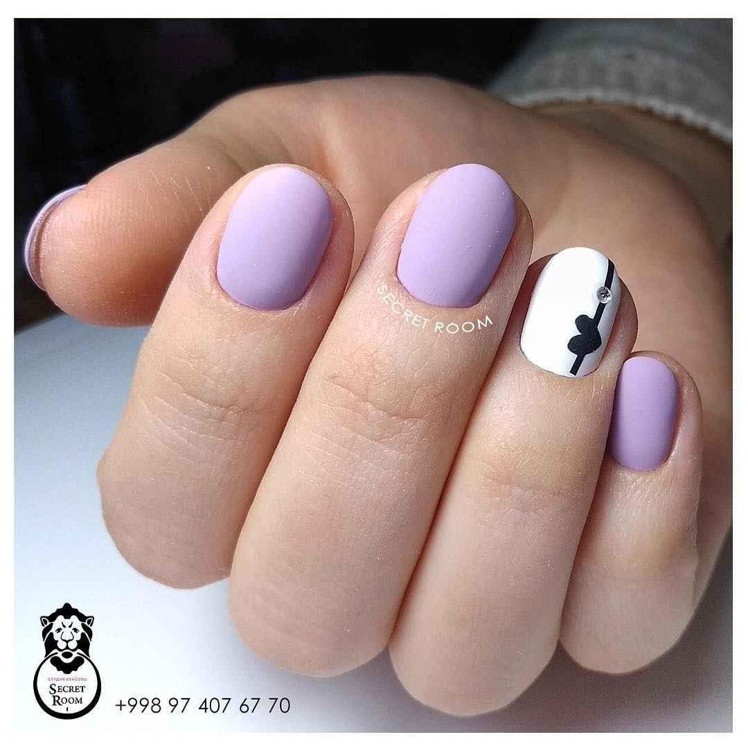 Матовый маникюр на короткие ногти фото_11