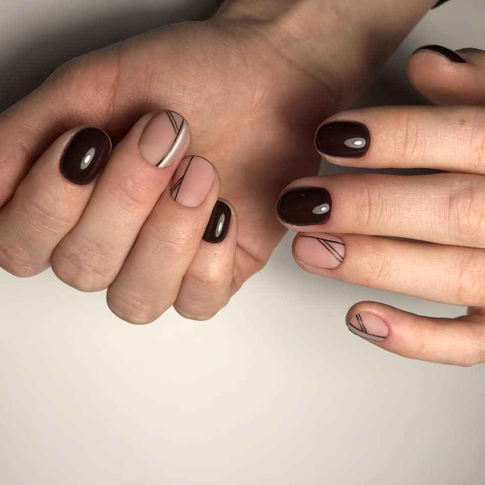 Матовый маникюр на короткие ногти фото_13
