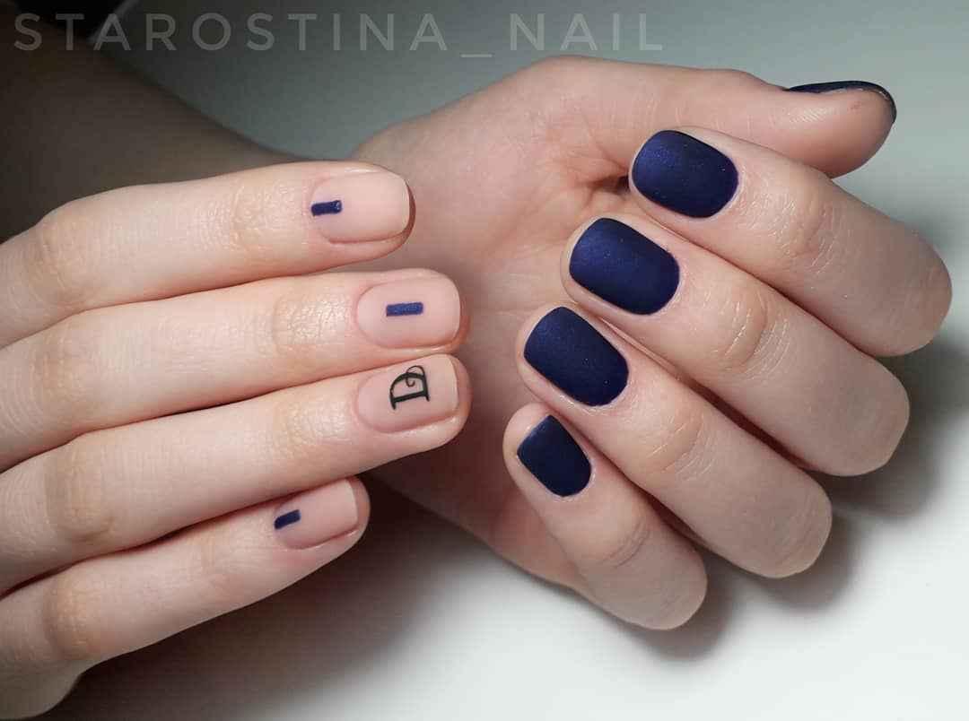 Матовый маникюр на короткие ногти фото_19