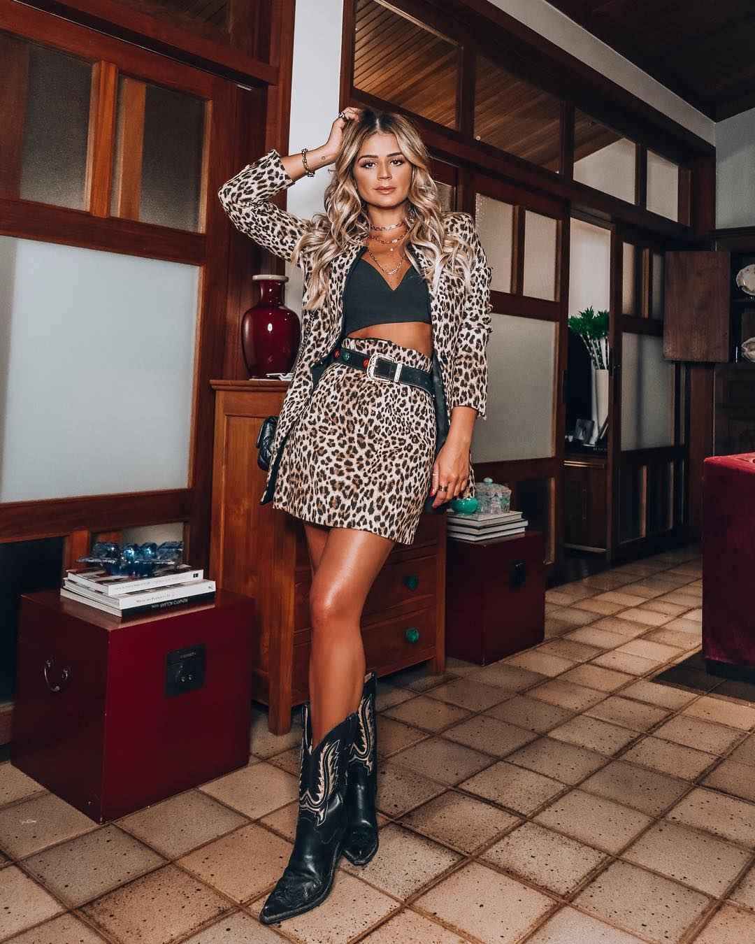 С чем носить леопардовую юбку мини фото_6