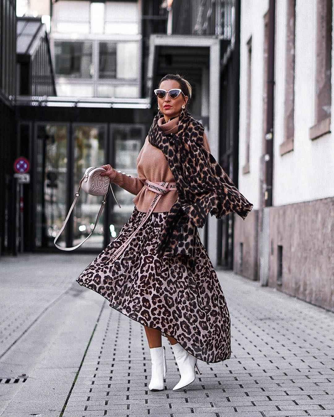 С чем носить длинную леопардовую юбку фото_1