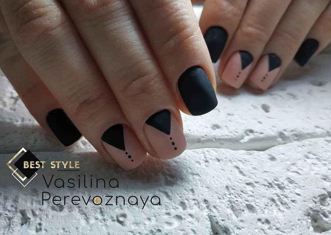 Матовый маникюр на короткие ногти с рисунком или декором фото_3