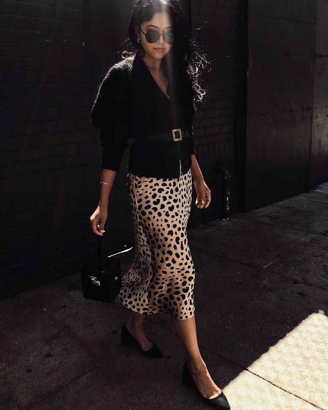 С чем носить леопардовую юбку карандаш фото_2