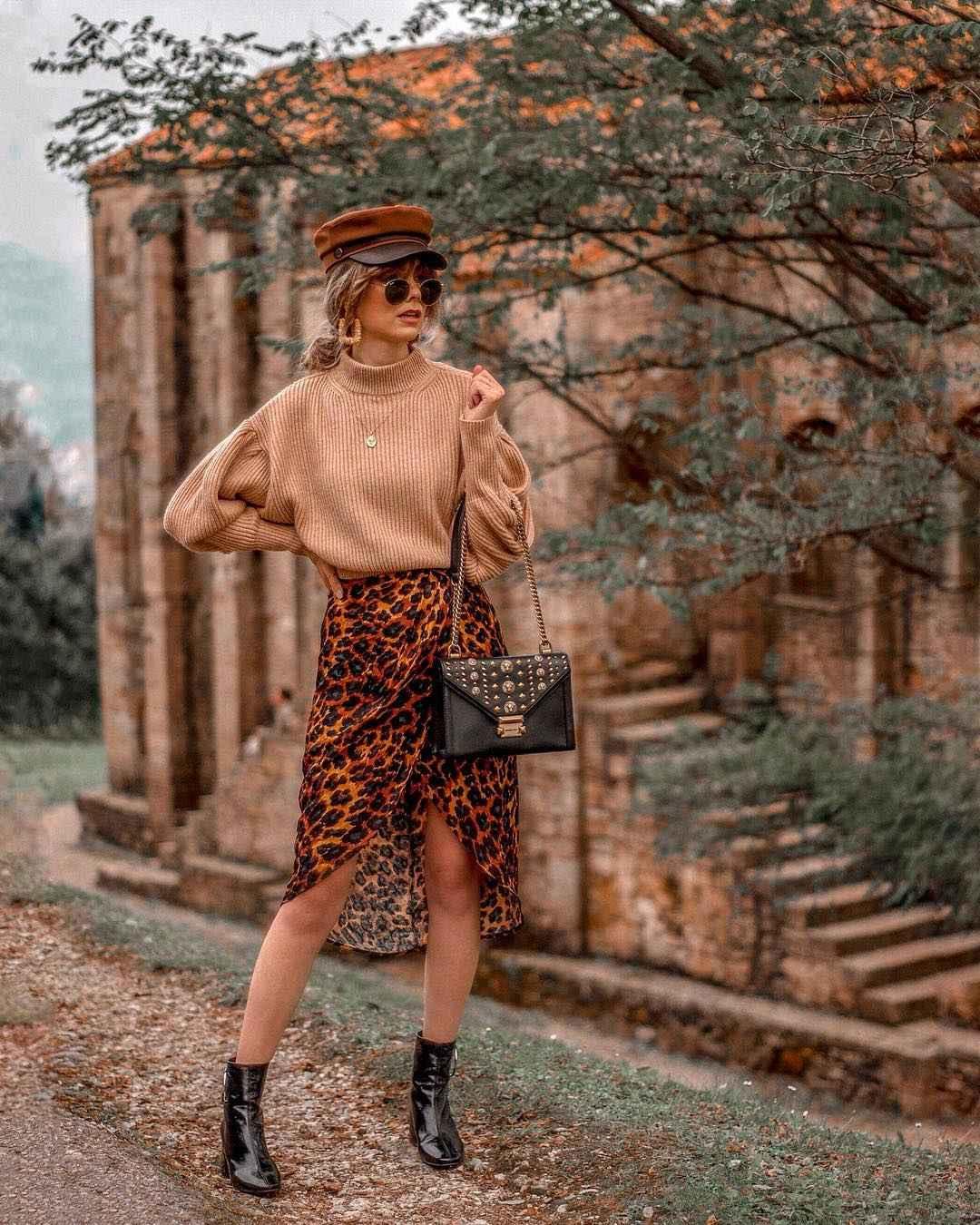 С чем носить длинную леопардовую юбку фото_4