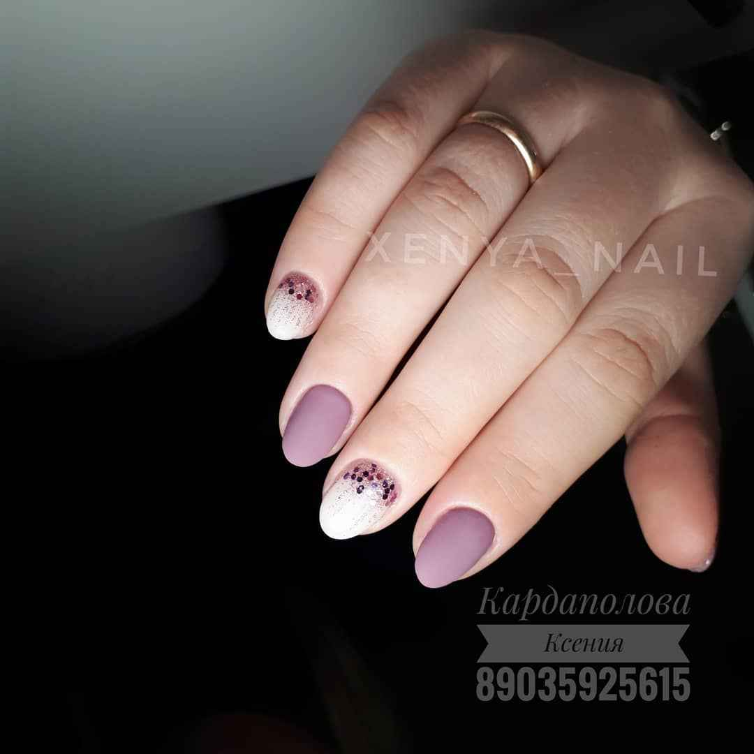 Матовый маникюр на короткие ногти фото_21