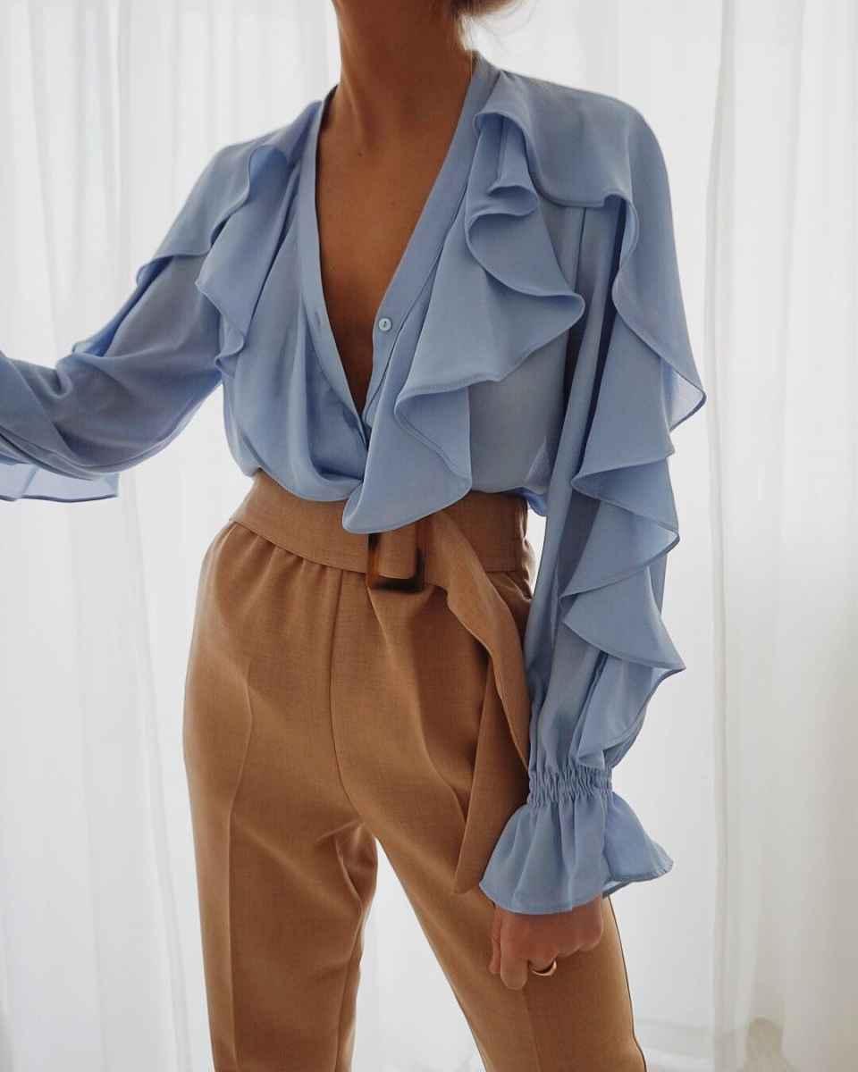 Красивые образы с блузами и рубашками 2019 фото_10