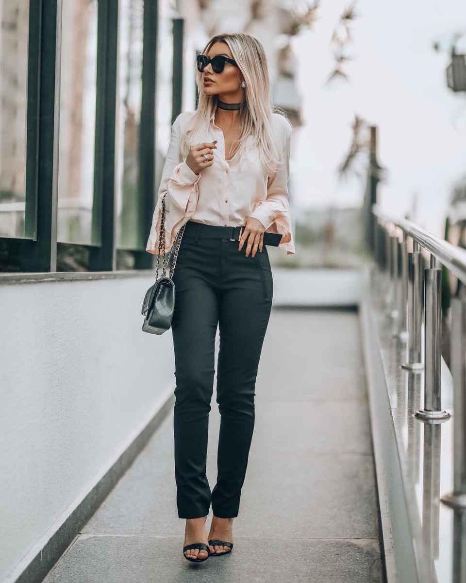 Красивые образы с блузами и рубашками 2019 фото_7