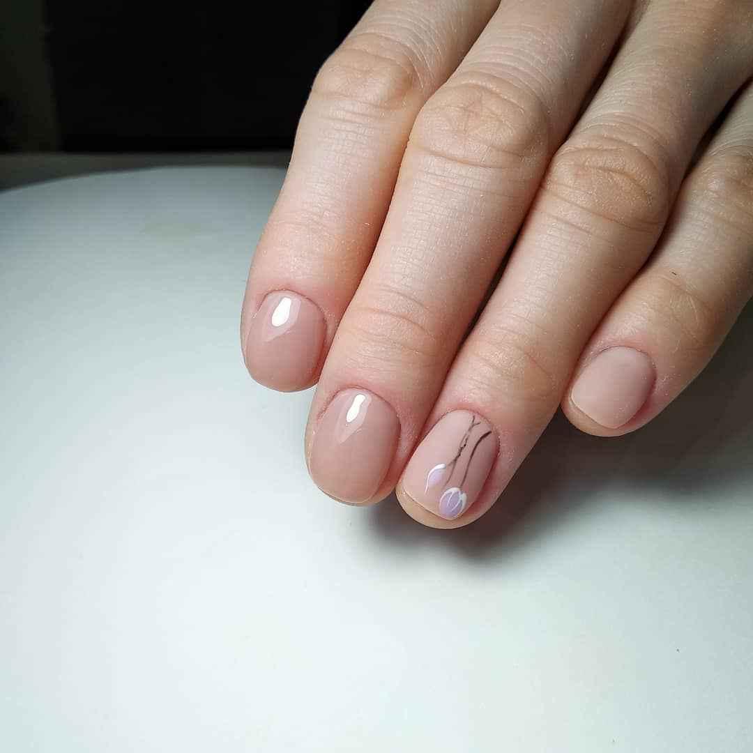 Нежный маникюр на короткие ногти весна 2019 фото_7