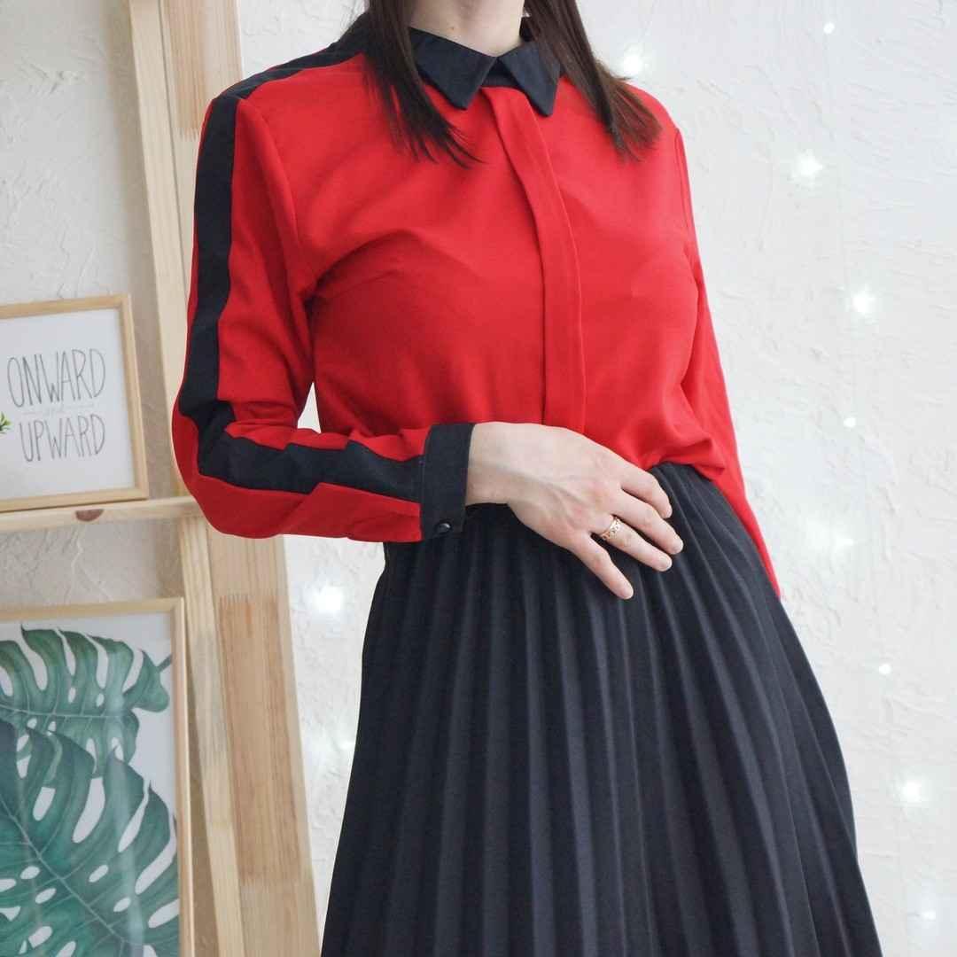 красные рубашки и блузы 2019 фото_3