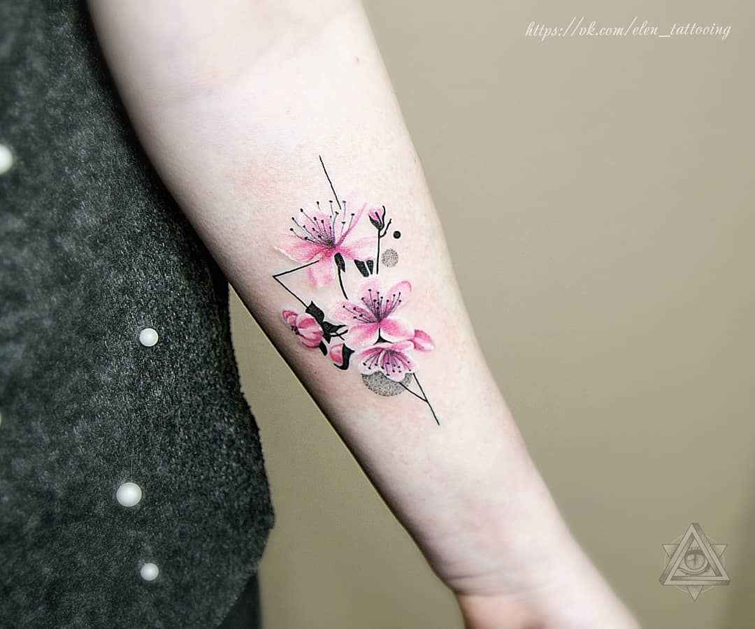 женское тату сакура фото_16
