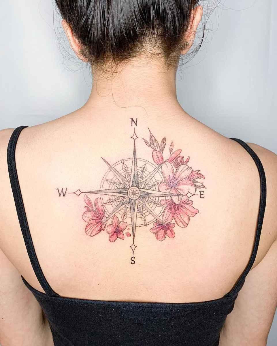 Женское тату компас фото_14