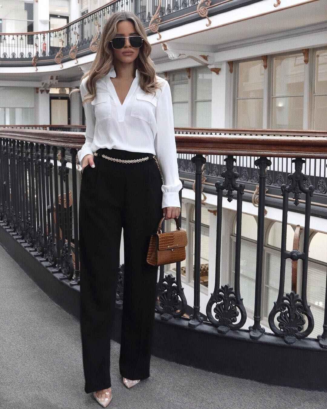 Модный офисный стиль 2019-2020 с брюками фото идеи_24
