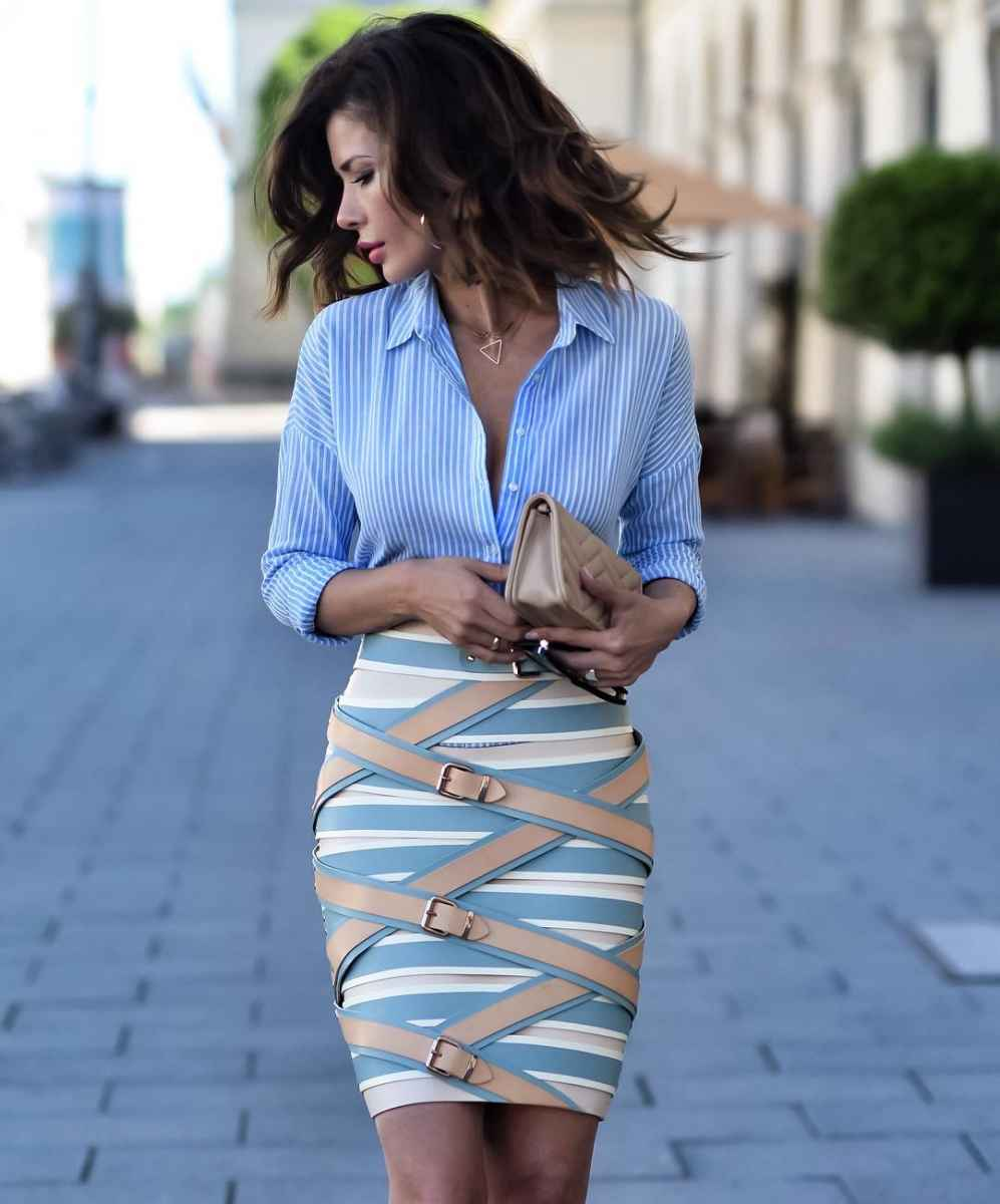 синие рубашки и блузы 2019 фото_8